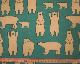 """Family polar bear - fabric - 1 yard - cotton linen  - 3 colors ,kawaii,cut,Check out with code """"5YEAR"""" to save 20% off"""