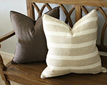 Free shipping, Striped Pillow Cover, Designer, Decorative, Square 20 inch, 20x20, linen and cream stripe
