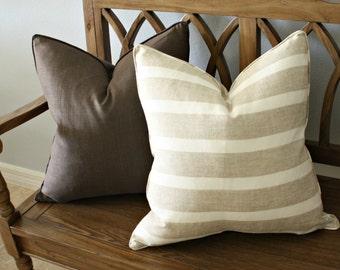 Striped Pillow Cover, Designer, Decorative,  linen and cream stripe