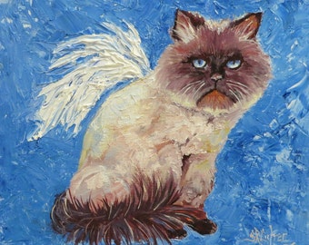 Pet Portraits cats kitty angel wings original oils heaven spiritual impasto style by Sandra Cutrer Fine Art