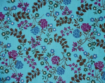 Vintage Turquoise Floral Cotton Fabric, almost 6 yards!