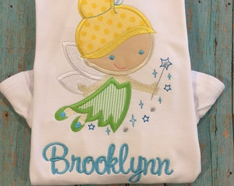 Tinkerbell monogrammed ruffled tee shirt by gigibabies, disney shirt personalized