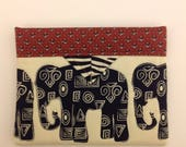 """Elephants Quilted Fabric Mini Snap Bag Organizer 6"""" x 5"""""""