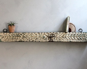 Wall Shelf Antique Hand Carved Indian Door Header Hanging Reclaimed Distressed Aztec Pattern Cream and Green Wood Moroccan Decor Turkish