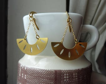 Raw Brass Half Circle Crecent Moon Chain Earrings, Dangle, Chandelier, Tribal
