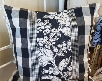 """Black and white check and floral pillow 22"""" square"""