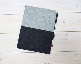 "IPAD PRO FELT case 10.5"" / 12.9 / 9.7 inch case felt with pencil holder - Free shipping - woolfelt with a red detail. Dutch Design"