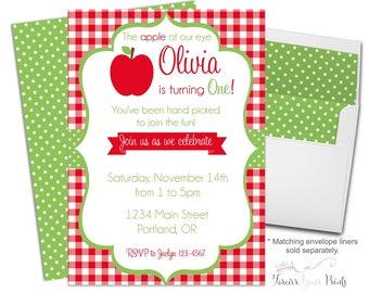 Apple of My Eye Invitation - Apple Birthday Invitation - Apple Party Invitation - Birthday Invitation Girl - Apple of Our Eye - Apple Invite