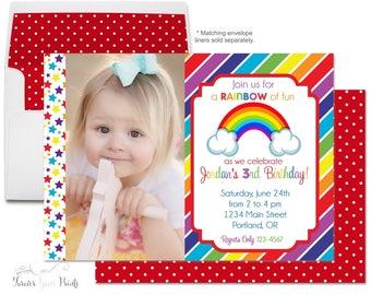 Rainbow Birthday Invitations - Rainbow Birthday Invites - Rainbow Party Invites - Girls Rainbow Party - Rainbow Invitations - Photo Invite