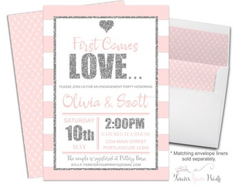 Couples Bridal Shower Invitation - Couples Engagement Invitation - Couples Bridal Invite - Coed Shower - Bridal Shower Invite - Pink Stripes