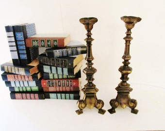 Hollywood Regency Candlestick, Mantel Decor, Tall Burnished Gold Candleholders, Church Regency Candlestick Holders, Library Decor, Boho Chic