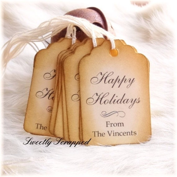 20 PERSONALIZED Happy Holidays Tags, To From Tag, Christmas, Seasons Greetings, Gift Wrap