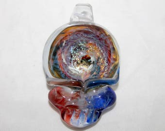 Grateful Dead inspired steal your face stealie pendant with glow in the dark double vortex, deahead, lucky glass, lucky stealie, hippie