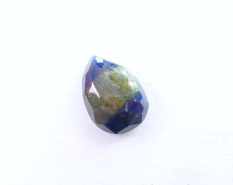 Bi Color SAPPHIRE. 100% Natural. Blue & Yellow Unheated / Untreated. Pear Shaped Rose Cut. Can Be Drilled. 6.68 cts. 13x10 x5 mm (S1978)