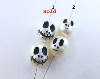 Pearl Ghost face Bead. Hand Carved & Inked White Freshwater Pearl . Artisan Made. Choose your style. 1 pr. +/- 10x8mm (PRL254)