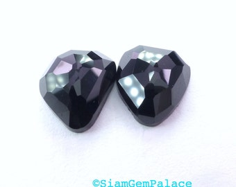 Onyx Faceted Cabochons. Faceted Black Onyx Rose Cut Cabochons. Great Match for Earrings. 2 pc. 10.99 cts. 10.5x12x4 mm  (OX285)