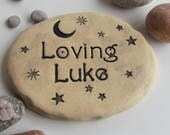 Personalized Garden stone with stars / choice of designs. Custom Outdoor Signage. Unique Garden art. Handmade terracotta tile
