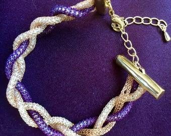 Love Knot Bracelet, Gold and Purple Silver Silk Bracelet