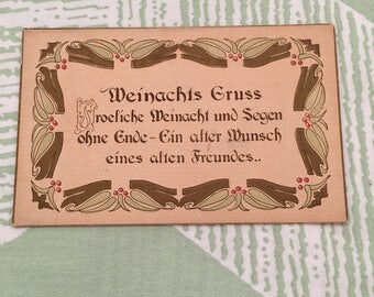 Vintage German Christmas Postcard, Antique Collectible European Paper Ephemera, Vintage Holiday Postcard