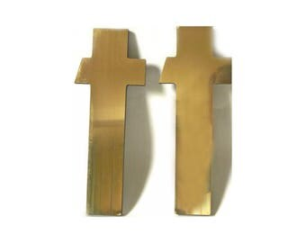 "Vintage Mirrored Gold Letter T ... Supplies, Lowercase t, Type, Typography, Marquee, Sans Serif Industrial Modern Sign Lettering, 10"" Tall,"