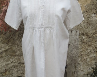Short Sleeved Vintage French Linen Chemise 19th Century