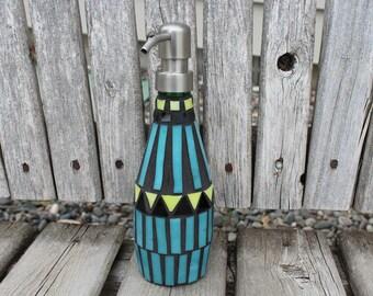 Soap dispenser, Southwestern style mosaic dispenser, mosaic soap dispenser, Southwest design, soap/lotion dispenser, mosaic glass
