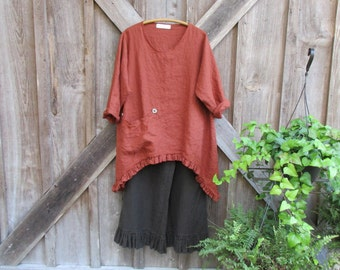 linen  tunic arched front and back with ruffles in rust ready to ship