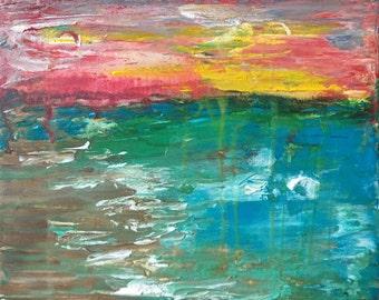 "Lemonade Skies Original Acrylic Painting 8"" x 10"""