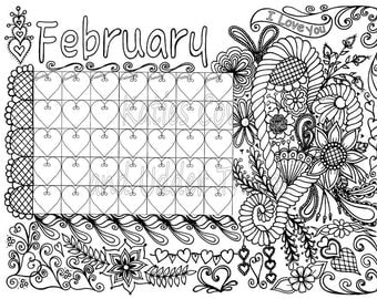 february doodled calendar coloring page - February Coloring Pages