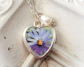 Purple Aster Broken China Jewelry Charm Sterling Pendant Necklace