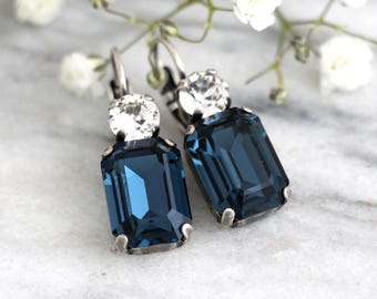 Blue Navy Earrings, Blue Drop Earrings, Swarovski Dark Blue Earrings, Octagon Earrings, Bridesmaids Earrings, Dark Blue Bridal Earrings