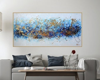 art,painting,Gold and blue abstract painting,original painting, Canvas Wall art,navy, dark blue, indigo blue ,gold