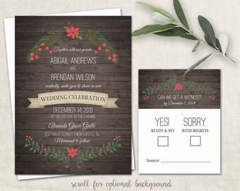 Rustic Winter Wedding Invitations Country Wedding Holly Poinsettia Wreath Christmas Wedding Invitations Set Barn Wood Printable Template Kit