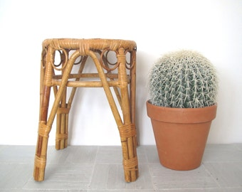 Mid Century Rattan/bamboo Stool / Plant Stand/ Side Table/  Boho  decor
