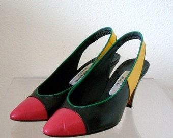 ON SALE 1980s High Heels / Sling-Back Dress Shoes from Saks / block party