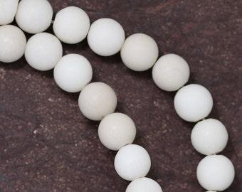 White Fossil Stone Beads - Matte Finish - 6mm Round