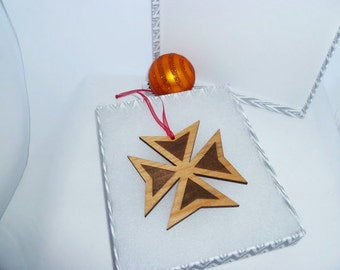 Personalized Maltese Cross Ornament Alder Wood Engraved with the Year