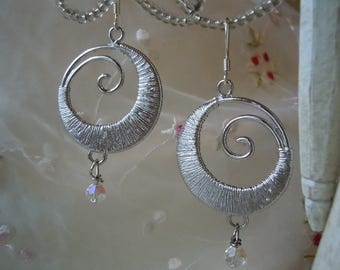 Silver spiral earrings with crystal glass beads