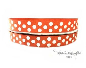 10 Yds WHOLESALE 7/8 Inch Orange Jumbo Polka Dot grosgrain ribbon LOW SHIPPING Cost