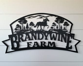 Custom Mountain, Horse, and Tree Farm Sign LMW-16-36