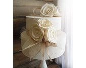 Ready to Ship ~~~ Rustic Sola Flower Cake Topper Picks, Set of 2. Ivory, Burlap and Jute.