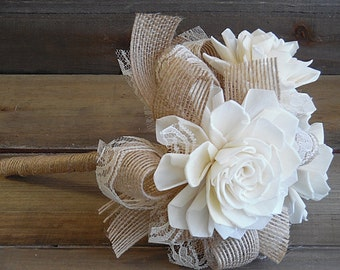 Will ship in 4 weeks ~~~ Rustic Shabby Chic Small Flowergirl Flowerwand Bouquet