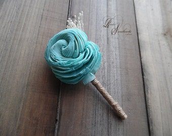 Will ship in 5 days ~ Tiffany Sola Flower Boutonniere Boutineer