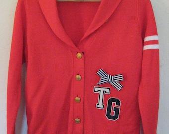 Tommy Girl 1990's Varsity Letterman Cardigan Sweater Preppy Hipster Tommy Hilfiger Rare