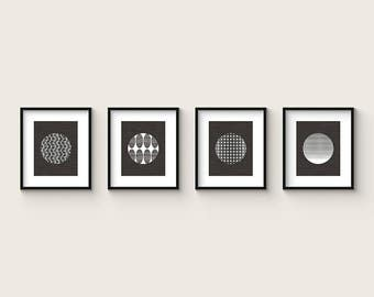 MOIRÉ - Collection of 4 Modern Abstract BW Art Prints - OP Art Modernist Mid Century Style