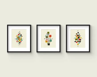 Mid Century Set no.1 - Collection of (3) Giclee Prints - Abstract Mid Century Modern 8x10 Format