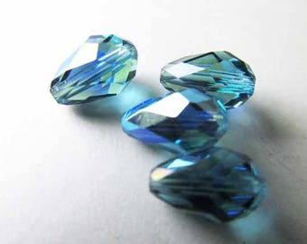 4 Swarovski Crystal Rare Indicolite AB Blue Turquoise 9x6mm Teardrop Jewelry Beads