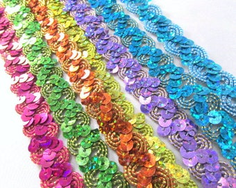 Holographic Zig Zag Sequined Trim in Hot Pink Fuchsia, Lime Green, Orange Rust, Lemon Yellow, Lavender, Turquoise Gold, and Blue Aqua Silver