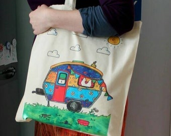Caravan tote bag colourful caravan bag