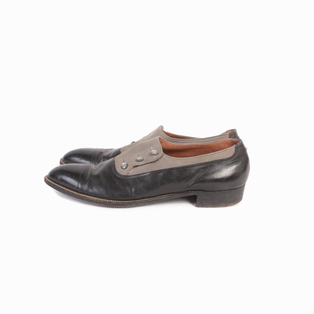 vintage mens button shoes stetson black amp gray3 button